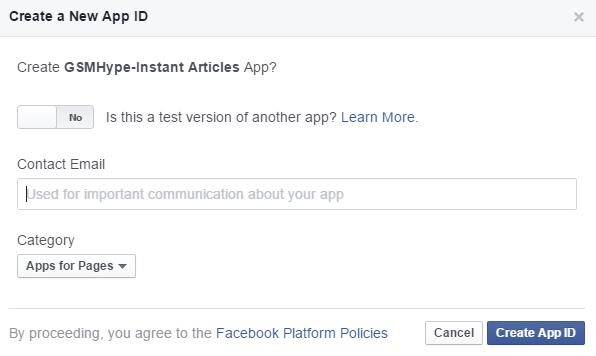 Create app id confirmation