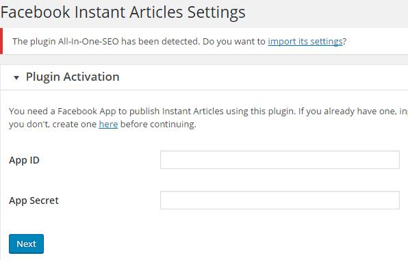 FB Instant Articles Plugin Settings