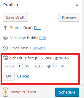 Schedule Posts In WordPress Step 2